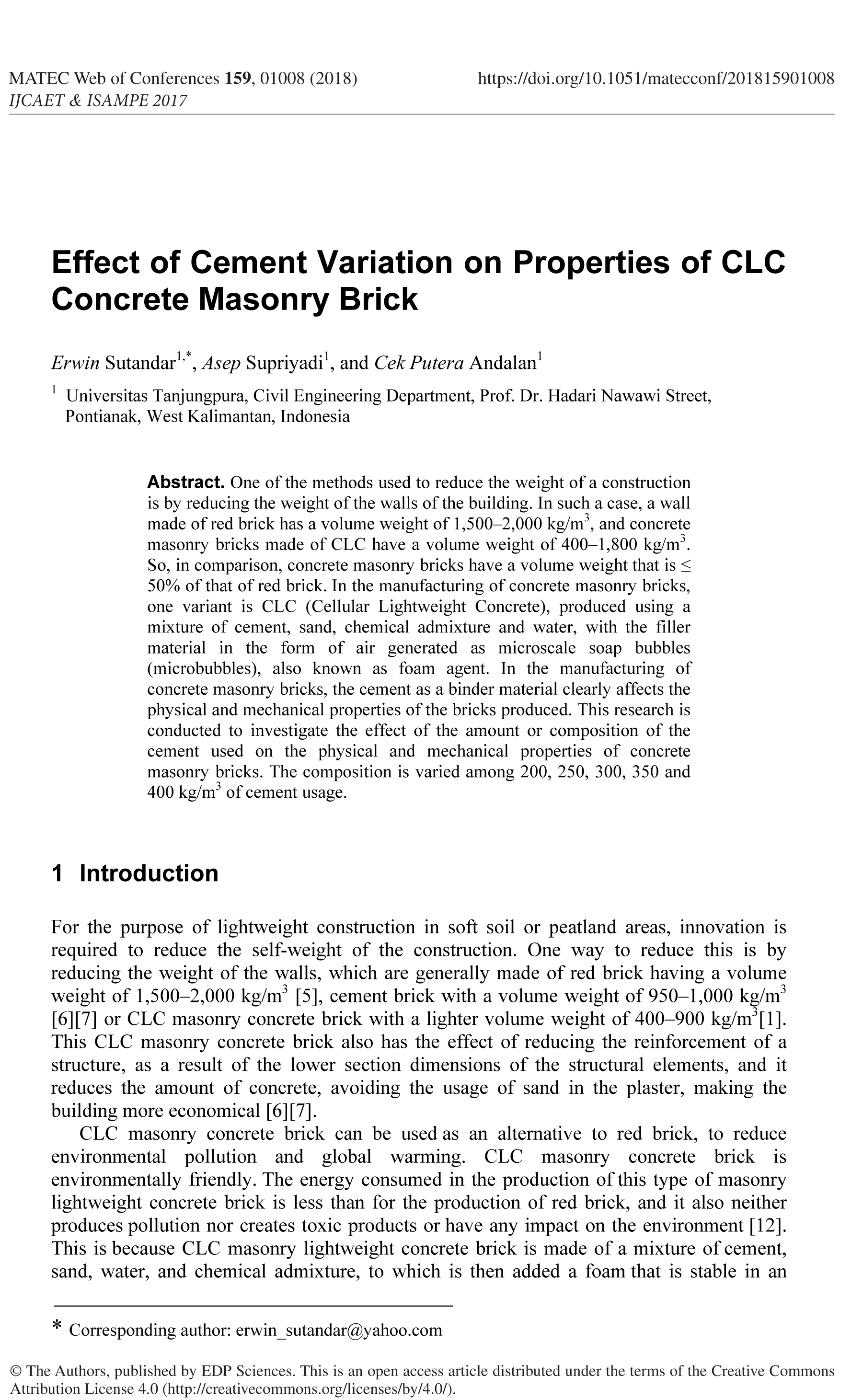 Effect of Cement Variation on Properties of CLC Concrete Masonry